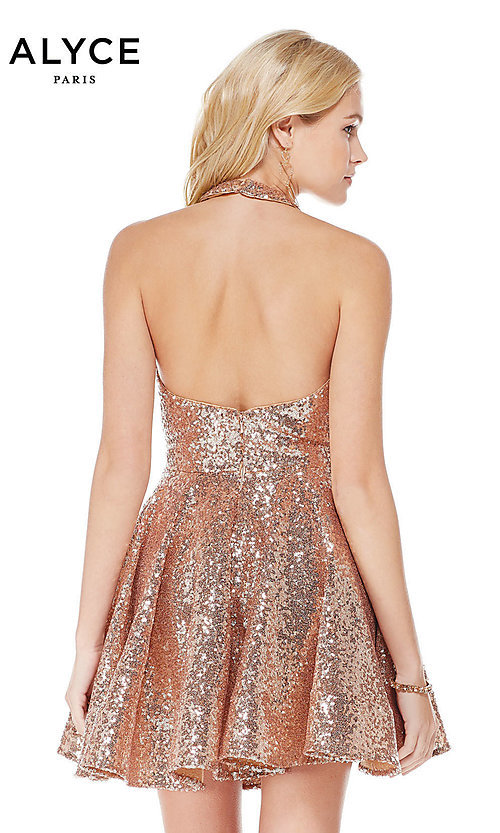 Image of rose gold short sequin homecoming party dress. Style: AL-4056 Back Image