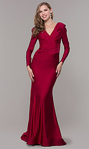 Image of long-sleeve v-neck prom dress with train. Style: CD-MA-M257 Detail Image 6