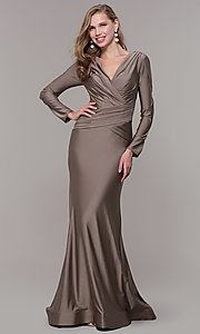 Image of long-sleeve v-neck prom dress with train. Style: CD-MA-M257 Detail Image 3