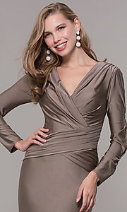Image of long-sleeve v-neck prom dress with train. Style: CD-MA-M257 Detail Image 5
