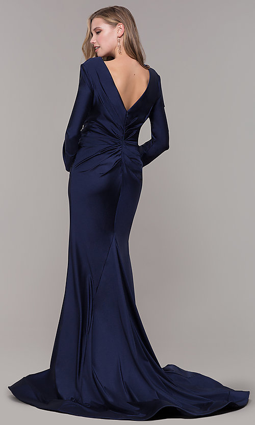Image of long-sleeve v-neck prom dress with train. Style: CD-MA-M257 Back Image