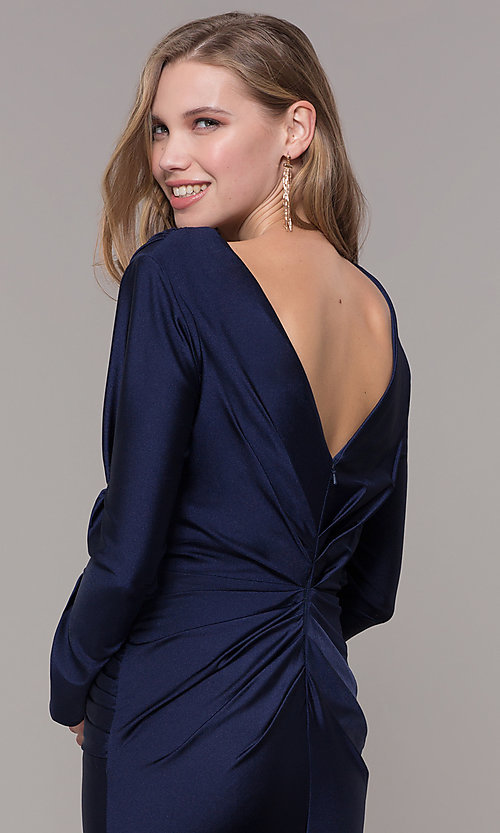 Image of long-sleeve v-neck prom dress with train. Style: CD-MA-M257 Detail Image 2