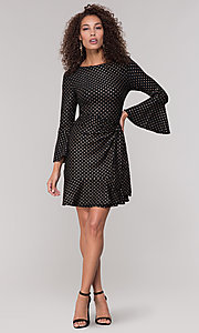 Image of black short holiday dress with gold polka dots. Style: ECI-720023-8362A Detail Image 3