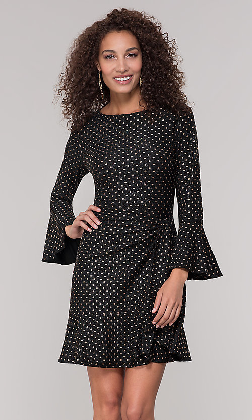 Image of black short holiday dress with gold polka dots. Style: ECI-720023-8362A Front Image