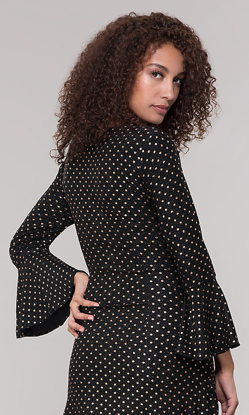 Image of black short holiday dress with gold polka dots. Style: ECI-720023-8362A Detail Image 2