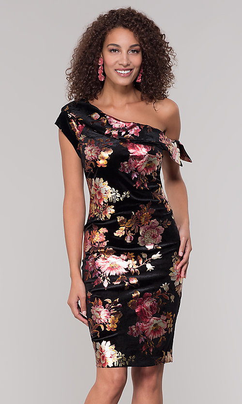 Image of short one-shoulder floral-print holiday dress. Style: ECI-719951-75716 Front Image
