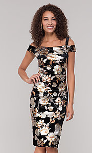 Image of floral-print knee-length wedding-guest dress. Style: ECI-719859-75557V Front Image