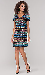 Image of striped short multicolored sequin holiday dress. Style: ECI-720329-8296A Detail Image 3