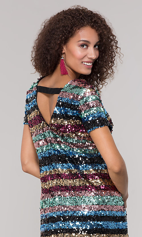 Image of striped short multicolored sequin holiday dress. Style: ECI-720329-8296A Detail Image 2