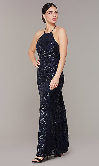 Open-Back Long Navy Blue Sequin Formal Prom Dress