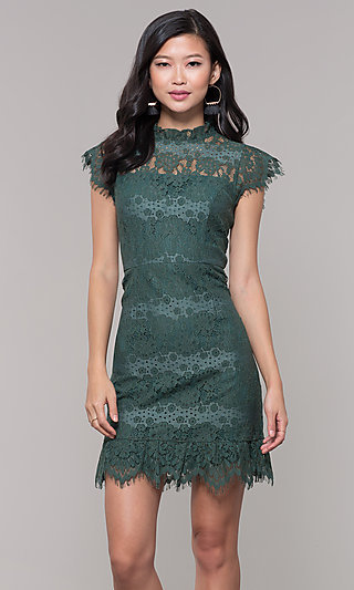Short Jade Green Lace Holiday Party Dress
