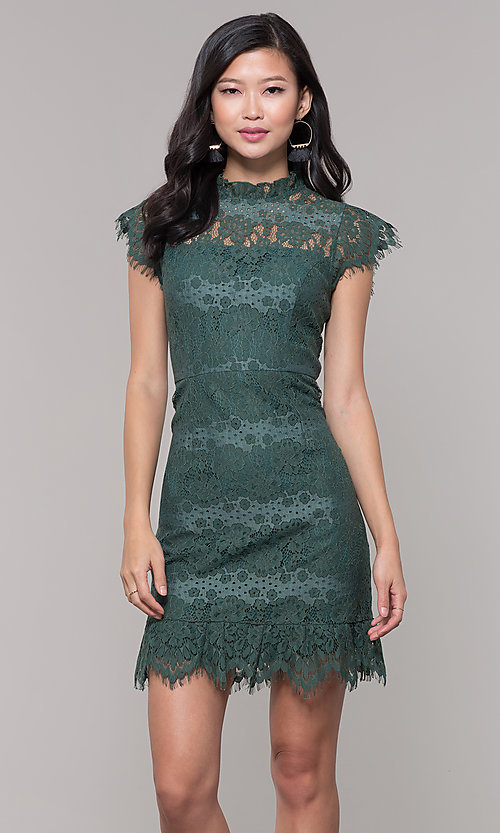 Image of short jade green lace holiday party dress. Style: AS-J5533D1J00 Front Image