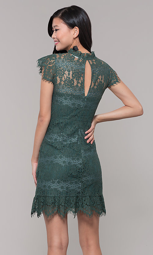 Image of short jade green lace holiday party dress. Style: AS-J5533D1J00 Back Image