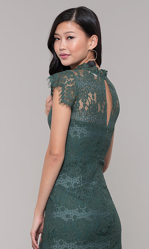 Image of short jade green lace holiday party dress. Style: AS-J5533D1J00 Detail Image 2