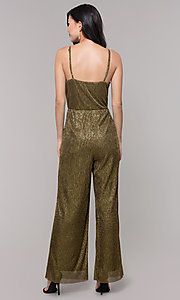 Image of black and gold long sparkly holiday jumpsuit. Style: AS-J4067687 Back Image