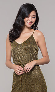 Image of black and gold long sparkly holiday jumpsuit. Style: AS-J4067687 Detail Image 1