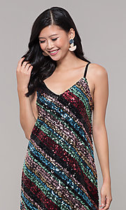 Image of multicolored sequin short holiday dress. Style: AS-A9567D9B81 Detail Image 1