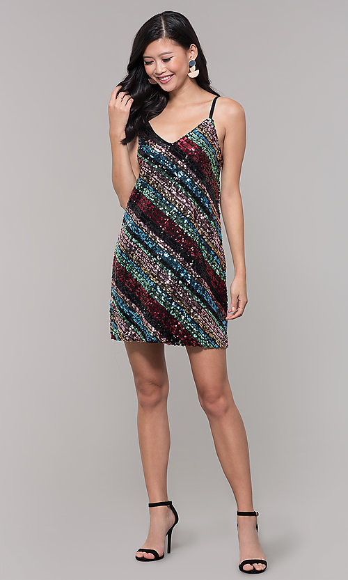 Image of multicolored sequin short holiday dress. Style: AS-A9567D9B81 Detail Image 3