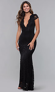Image of long open-back v-neck lace formal dress. Style: CL-46421 Back Image