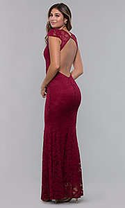 Image of long open-back v-neck lace formal dress. Style: CL-46421 Detail Image 4