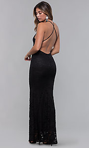 Image of long open-back lace formal dress. Style: CL-46554 Detail Image 2