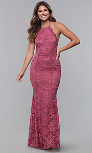 Image of long open-back lace formal dress. Style: CL-46554 Detail Image 5