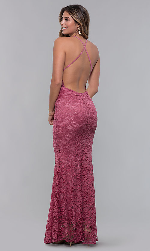 Image of long open-back lace formal dress. Style: CL-46554 Detail Image 6