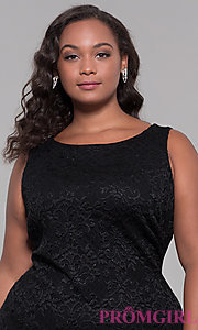 Image of short black lace plus-size wedding guest dress. Style: JU-MA-291815 Detail Image 1