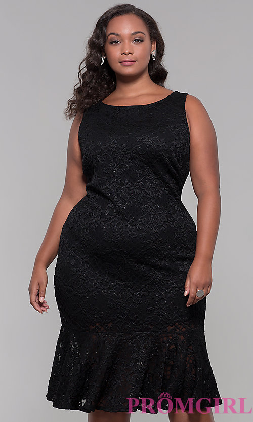 Image of short black lace plus-size wedding guest dress. Style: JU-MA-291815 Front Image