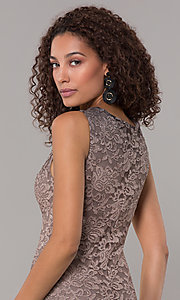 Image of knee-length ombre lace mocha wedding-guest dress. Style: JU-ON-650268 Detail Image 2