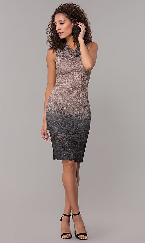 Image of knee-length ombre lace mocha wedding-guest dress. Style: JU-ON-650268 Detail Image 3