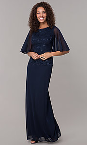 Image of mock-two-piece flutter-sleeve long formal MOB dress. Style: JU-ON-650272 Front Image
