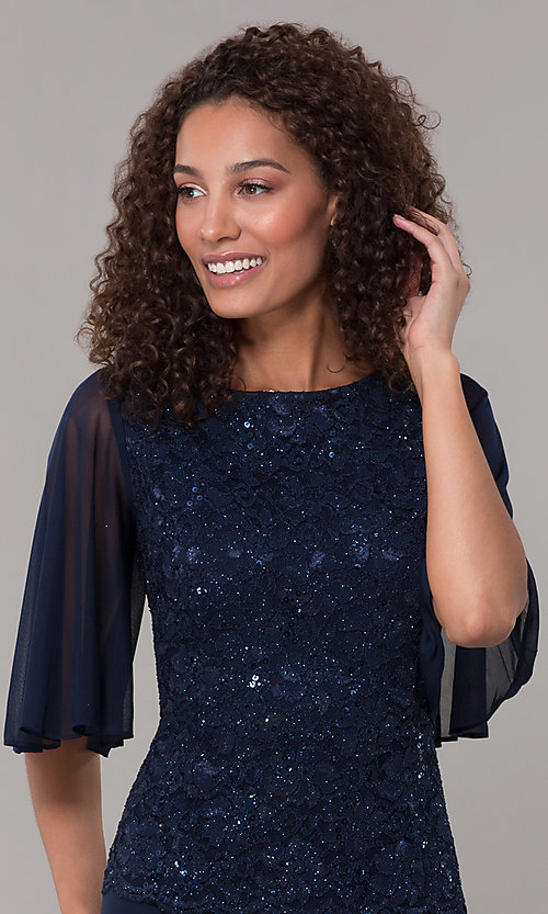 Image of mock-two-piece flutter-sleeve long formal MOB dress. Style: JU-ON-650272 Detail Image 1
