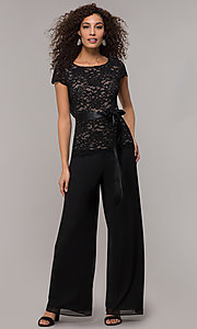 Image of long black and nude party jumpsuit with sequins. Style: JU-ON-649893 Front Image