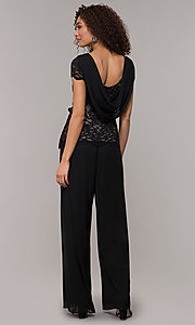 Image of long black and nude party jumpsuit with sequins. Style: JU-ON-649893 Back Image