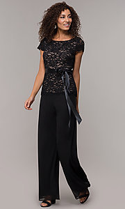 Image of long black and nude party jumpsuit with sequins. Style: JU-ON-649893 Detail Image 3