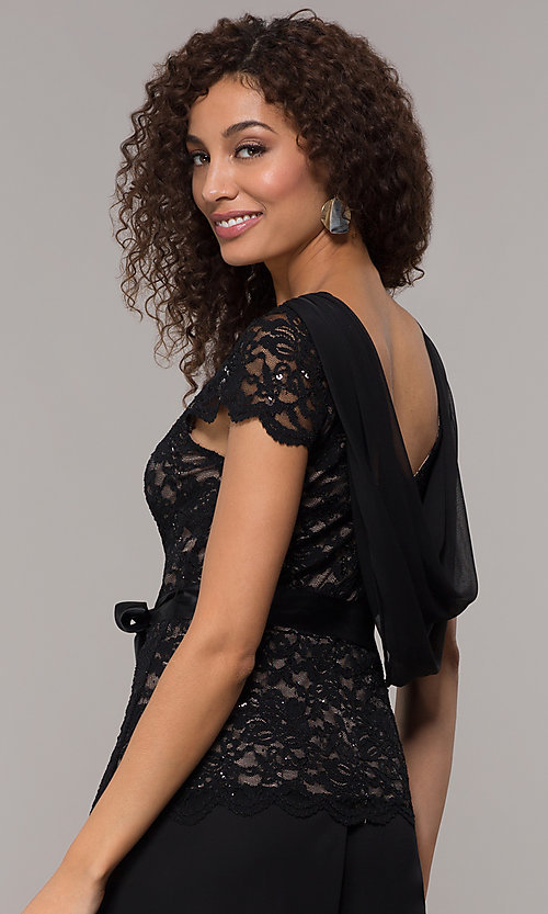 Image of long black and nude party jumpsuit with sequins. Style: JU-ON-649893 Detail Image 2