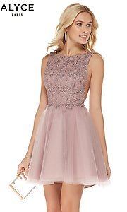 Image of a-line high-neck sleeveless tulle homecoming dress. Style: AL-3801 Front Image