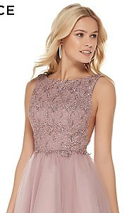 Image of a-line high-neck sleeveless tulle homecoming dress. Style: AL-3801 Detail Image 1