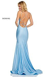Image of long Sherri Hill prom dress with trumpet skirt. Style: SH-52779 Detail Image 4