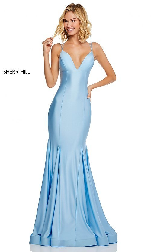Image of long Sherri Hill prom dress with trumpet skirt. Style: SH-52779 Detail Image 3