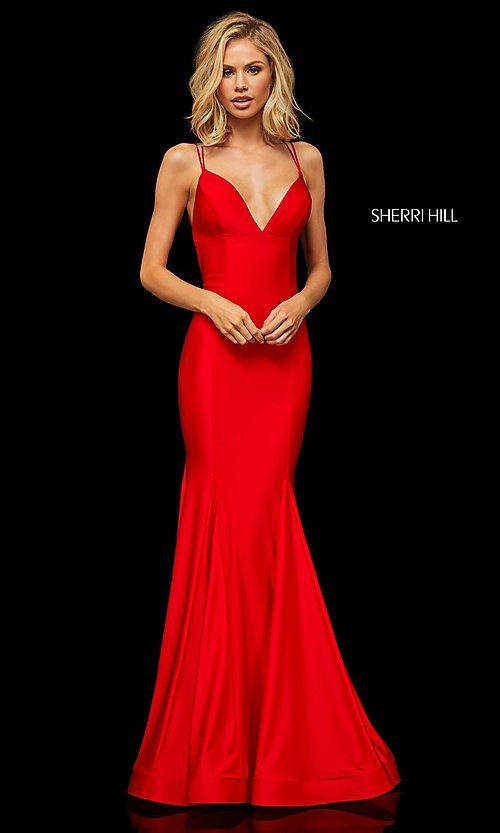 Image of long Sherri Hill prom dress with trumpet skirt. Style: SH-52779 Front Image