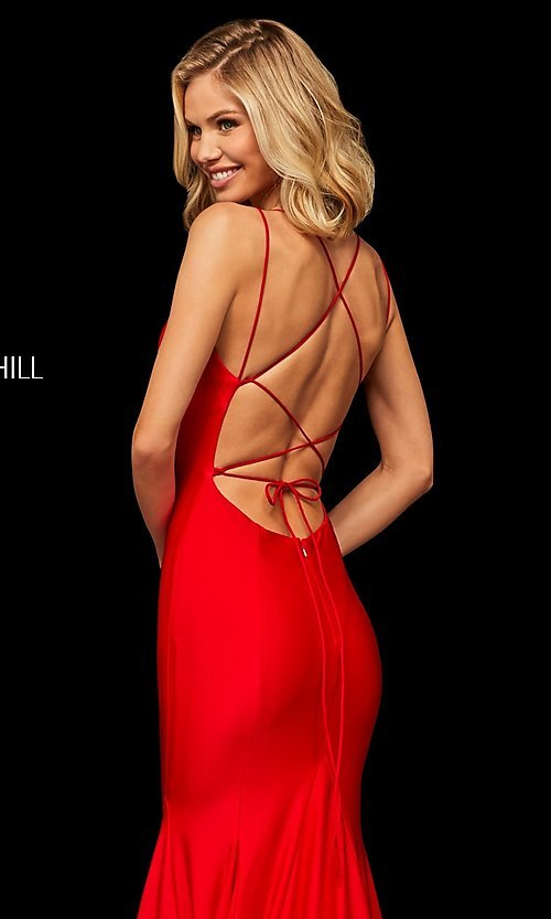 Image of long Sherri Hill prom dress with trumpet skirt. Style: SH-52779 Detail Image 2