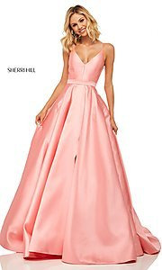 Image of long Sherri Hill designer prom dress with pockets. Style: SH-52821 Detail Image 3