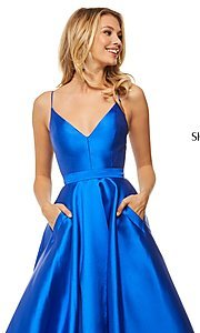 Image of long Sherri Hill designer prom dress with pockets. Style: SH-52821 Detail Image 1
