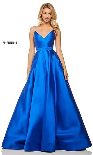 Long Sherri Hill Designer Prom Dress with Pockets