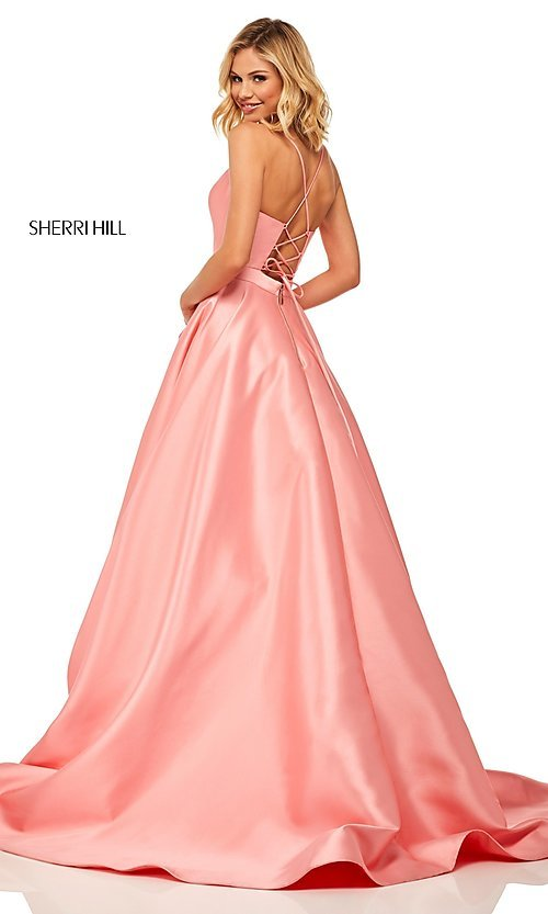Image of long Sherri Hill designer prom dress with pockets. Style: SH-52821 Detail Image 4