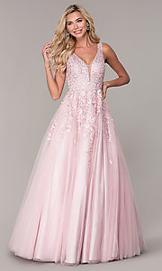 Image of long a-line embroidered prom dress by Elizabeth K. Style: FB-GL2529 Front Image