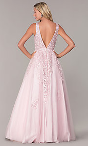 Image of long a-line embroidered prom dress by Elizabeth K. Style: FB-GL2529 Back Image