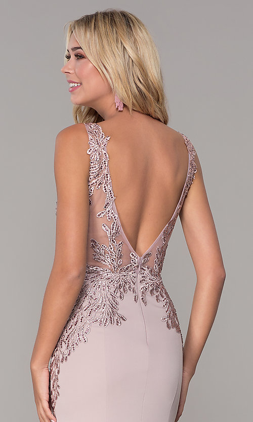 Image of long lace-open-back prom dress by Elizabeth K. Style: FB-GL2614 Detail Image 7